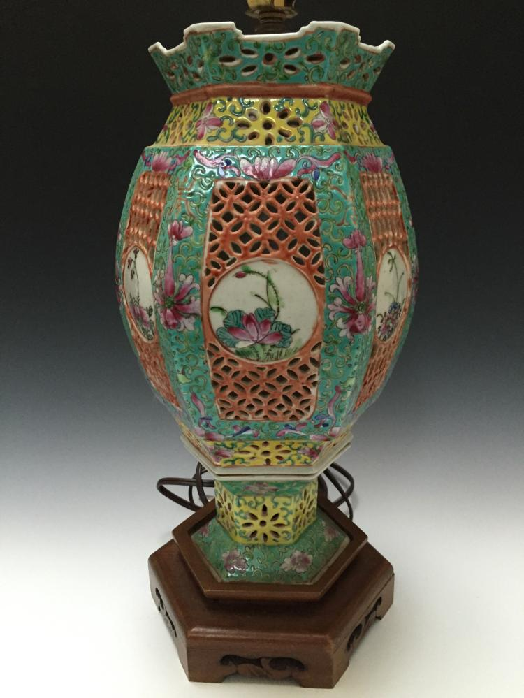 Chinese antique famill rose porcelain lamp 19th early 20th c for Asian antiques uk
