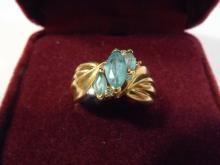 14K GOLD DIAMOND AND AQUAMARINE RING - 5 GRAM