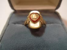 ANTIQUE 10K GOLD MOOSE INTERNATIONAL RING SZ 8.25 5 G