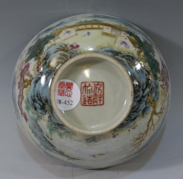 CHINESE ANTIQUE FAMILLE ROSE PORCELAIN BOWL - 19TH CENTURY MARKED