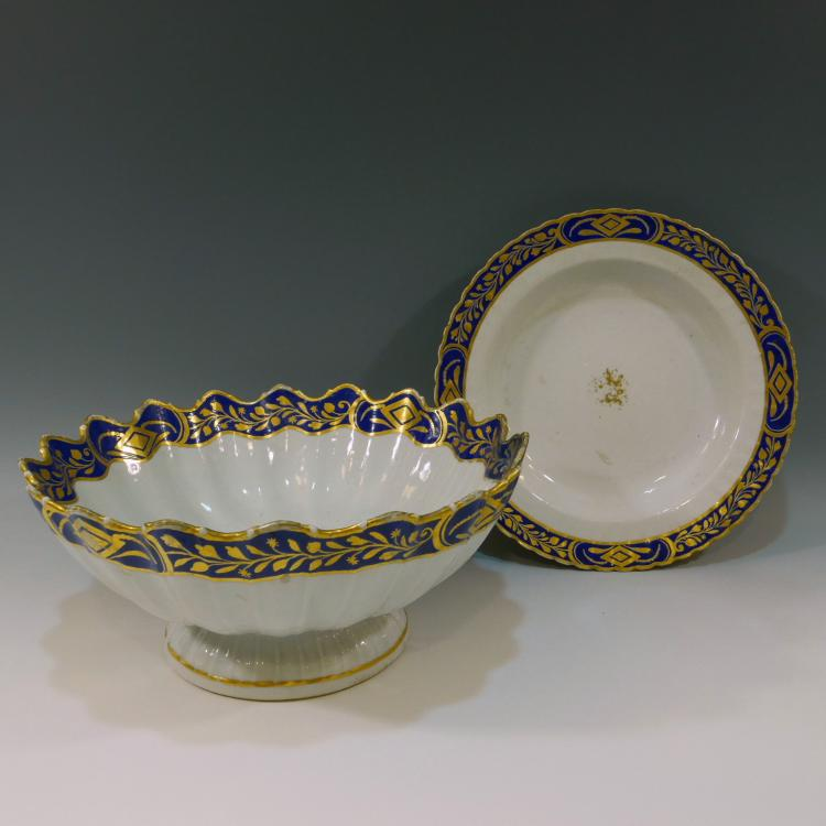 CHINESE ANTIQUE BLUE & GILT BOWL AND PLATE - 18TH CENTURY