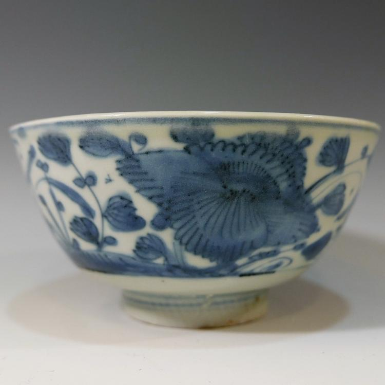 CHINESE ANTIQUE BLUE WHITE PORCELAIN BOWL - MING DYNASTY