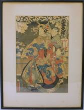 KUNICHIKA TOYOHARA (Japanese, 1835-1900). ANTIQUE WOODBLOCK PRINT