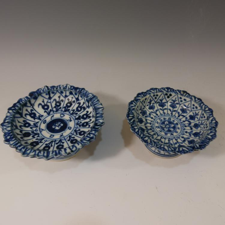 2 CHINESE ANTIQUE BLUE WHITE PORCELAIN TAZZA - MING DYNASTY