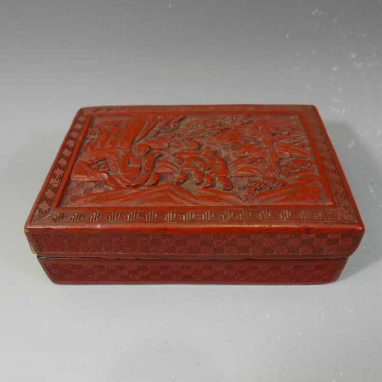 ANTIQUE CHINESE CINNABAR CARVED RED LACQUER BOX - 19TH CENTURY