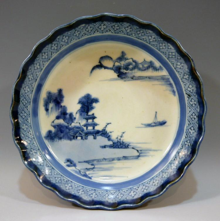 CHINESE ANTIQUE BLUE WHITE PORCELAIN PLATE - 18TH CENTURY
