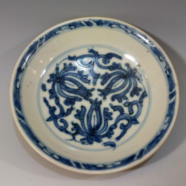 CHINESE ANTIQUE BLUE WHITE PORCELAIN DISH - KANGXI