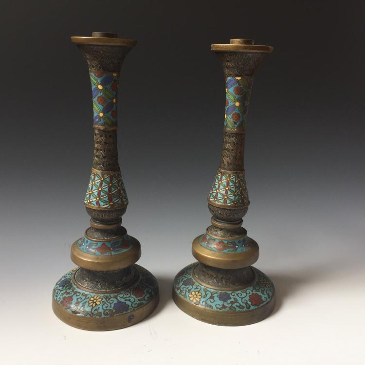 A PAIR CHINESE ANTIQUE CLOISONNE ENAMEL CANDEL HOLDER, 19TH