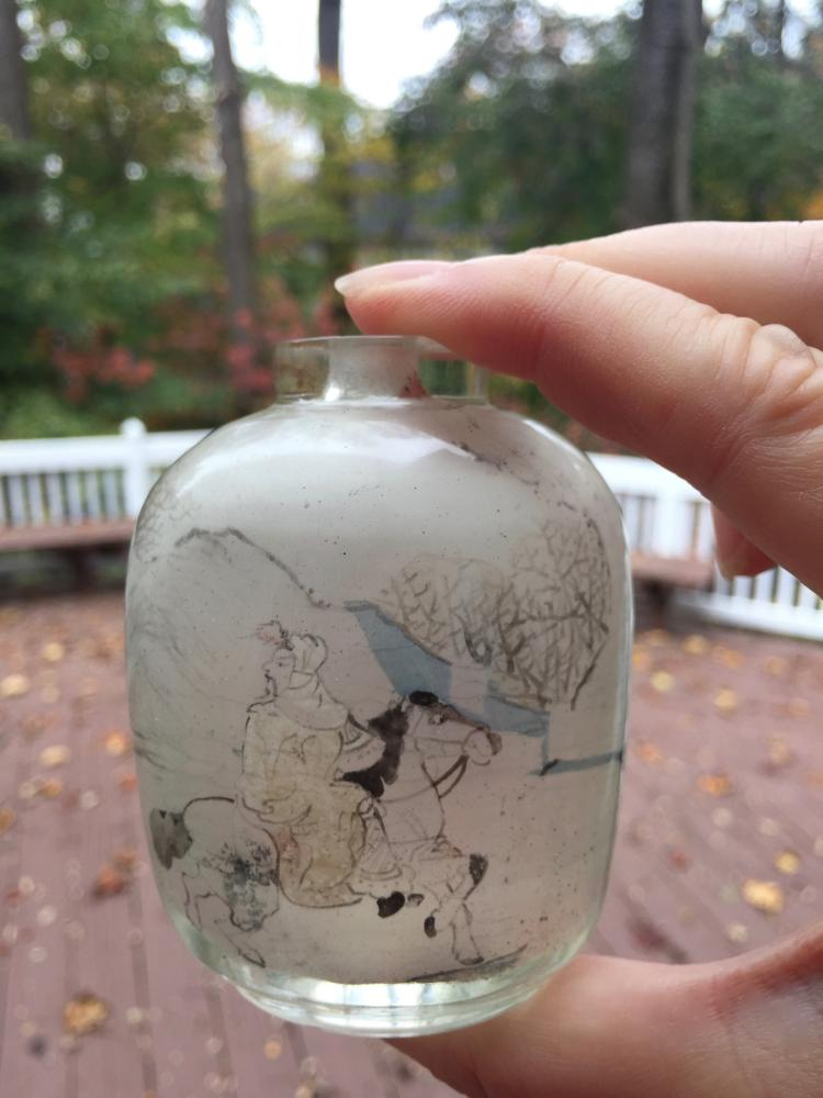 A INSIDE PAINTED GLASS SNUFF BOTTLE. 19TH