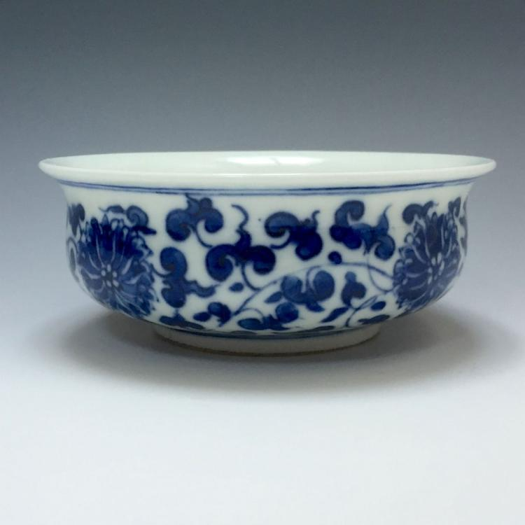 A BLUE AND WHITE FLOWER BOWL, KANGXI