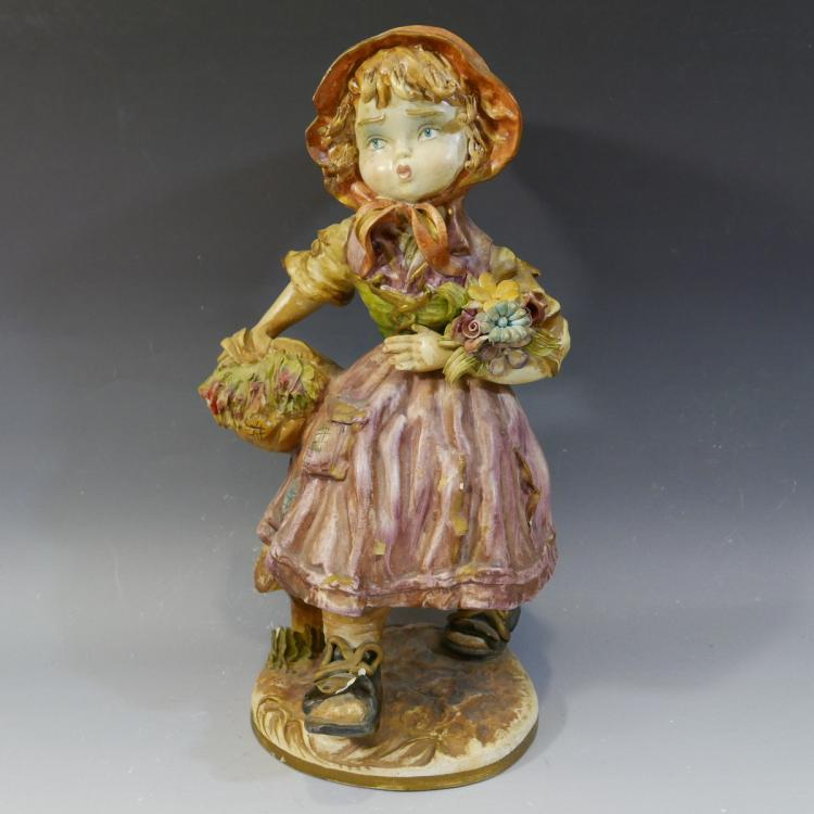 ANTIQUE CONTINENTAL PAINTED PORCELAIN DOLL FIGURE
