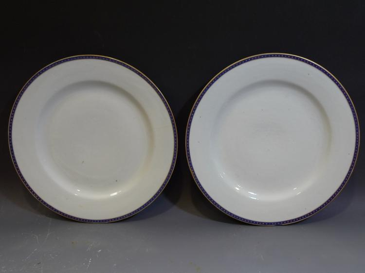 PAIR ANTIQUE CHINESE FEDERAL PATTERN PORCELAIN PLATE 18TH CENTURY