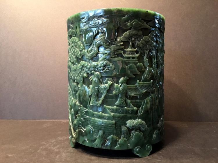 AN OLD Large Chinese Spinach Jade Brush Pot, late Qing period