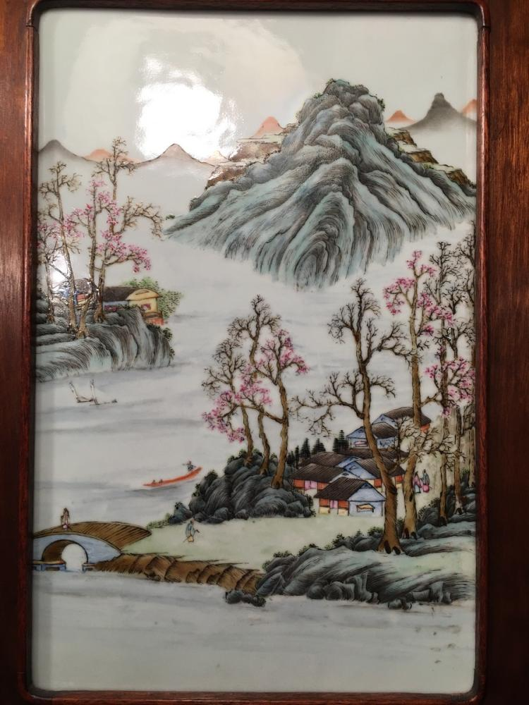 ANTIQUE Chinese Famille Rose Plaque in Frame, Late Qing period