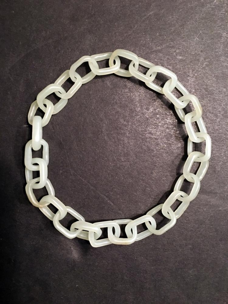 ANTIQUE Chinese White Jade Chain Bracelet, 2 1/2