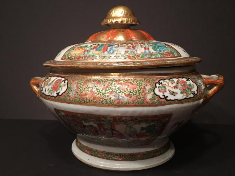ANTIQUE Chinese Large Rose Mandarin Medallion Tureen with Cover, mid 19th Century
