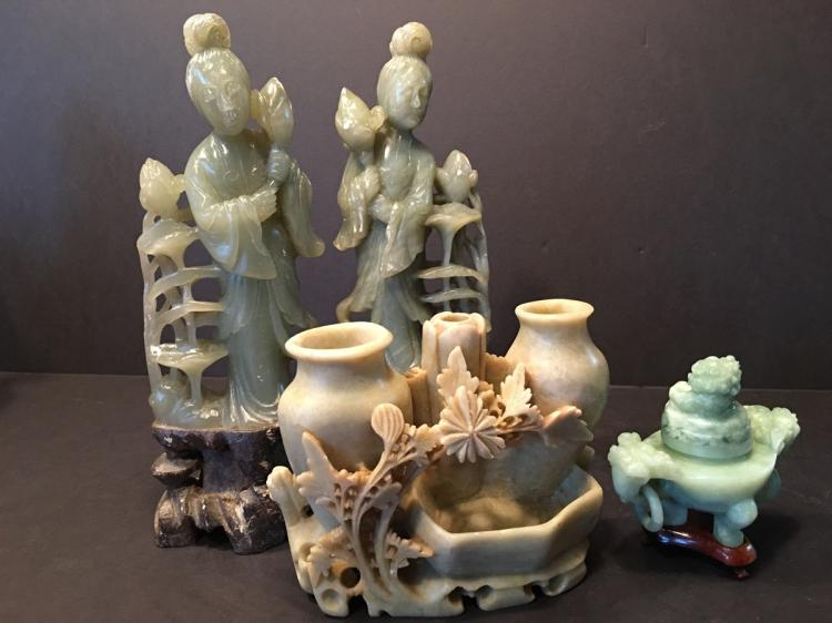 OLD Pair Soupstone Guanyin and a carvings and jade Censer