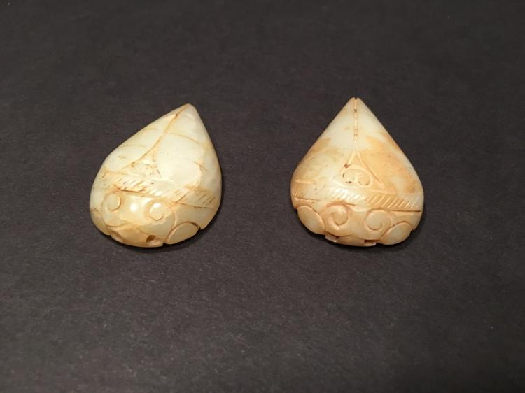 OLD Chinese ancient jade Cricket pendants