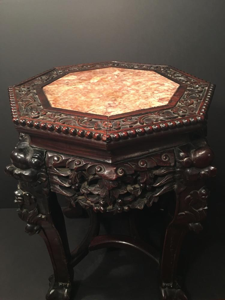 Old Chinese Hardwood Marble Top Stand, 19th C