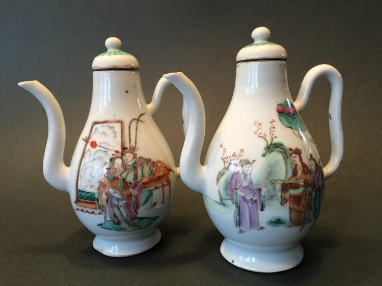 ANTIQUE Pair Chinese Famille Rose teapots with figurines, 18th C, 6 1/2