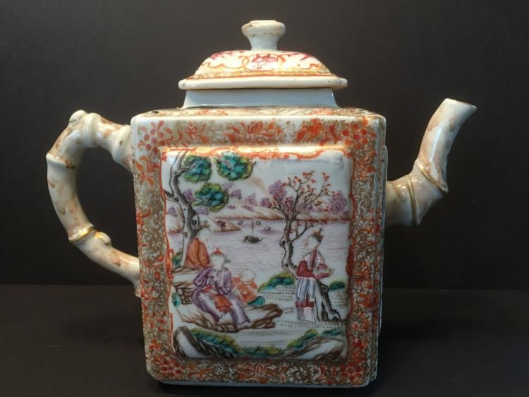 ANTIQUE Rare Huge Chinese Mandarin Palette Teapot, 18th C, Qianlong