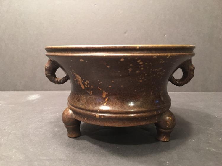 ANTIQUE Chinese Gold Splash Bronze Censer, Xuande mark