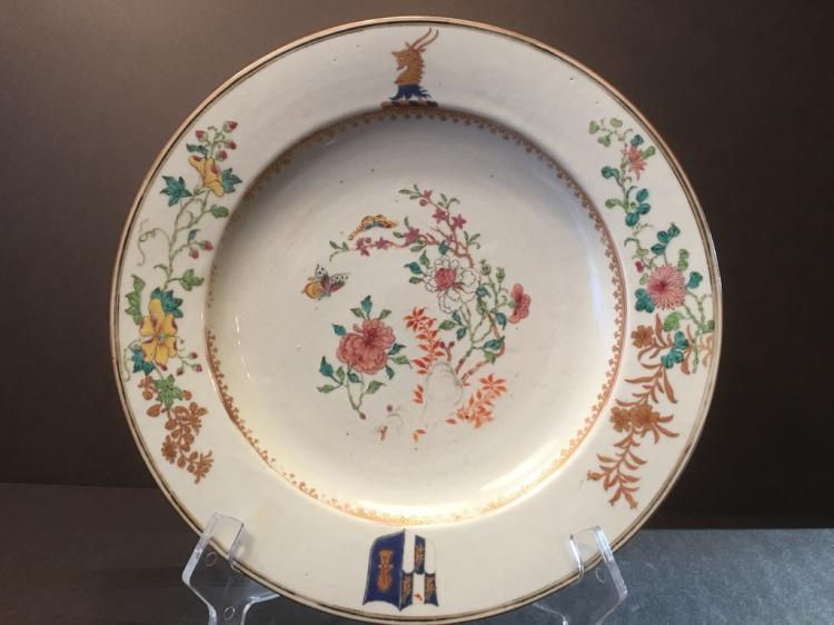 ANTIQUE Chinese Large Famille Rose Charger Plate, early 18th C. Yongzheng period.