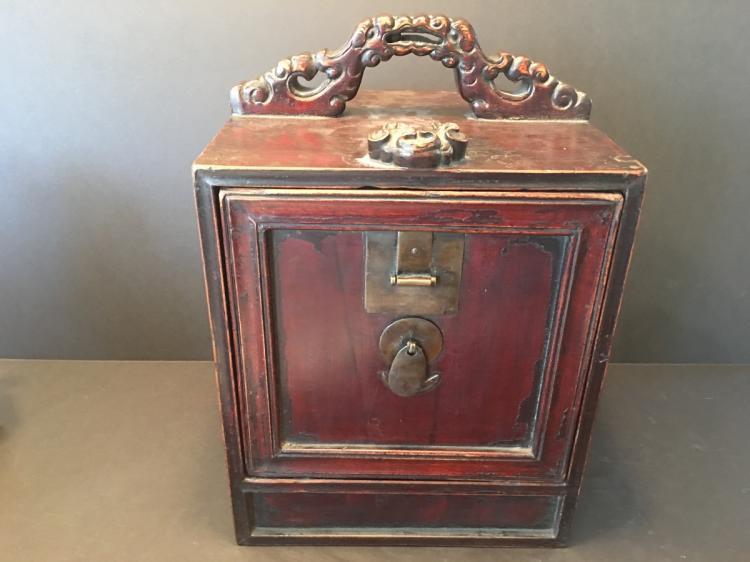 ANTIQUE Chinese Hardwood Jewelry Box, 19th century