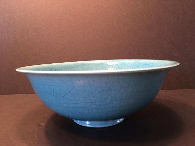 Fine Chinese Monochrome Large Bowl, marked. 9 1/2