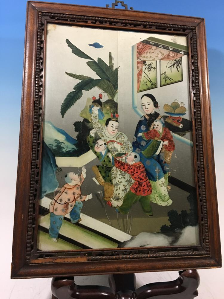 ANTIQUE Chinese Glass Mirror with Reverse Painting, late 19th Century, 22 1/2
