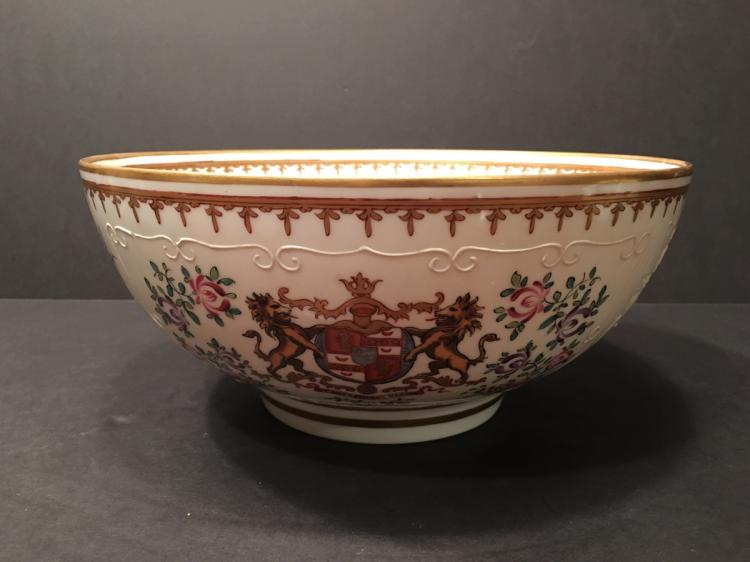 ANTIQUE Mason Punch Bowl, Porcelain de paris. 19th Century