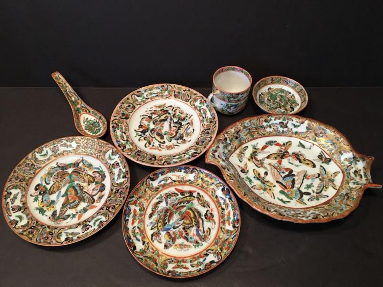 ANTIQUE Chinese 1000 butterfly plates, cup and spoon, 19th C