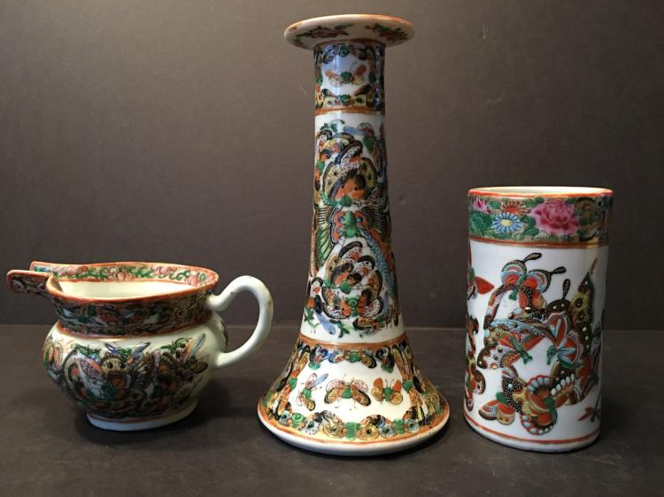 ANTIQUE Chinese 1000 butterfly Pitcher, candle holder and vase, 19th C