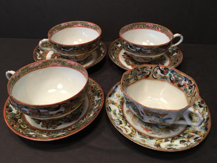 ANTIQUE Chinese 1000 butterfly 4 set of cups and Saucers, 19th C