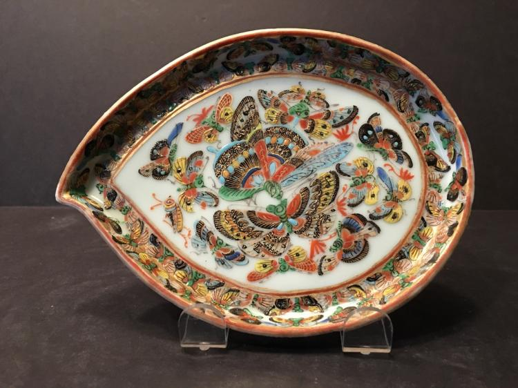 ANTIQUE Chinese 1000 butterfly Leaf Shape plate, 19th C