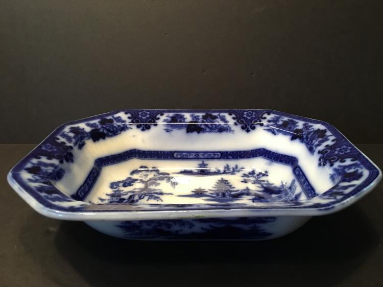 ANTIQUE 1845 Large Ironstone Tonquin W. Adams & Sons Flow Blue Soup Bowl