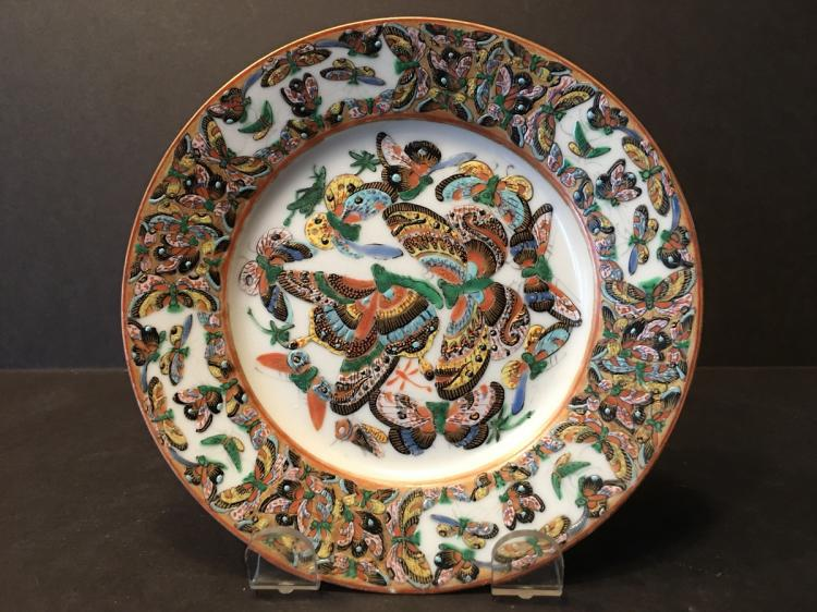 ANTIQUE Chinese 1000 butterfly plate, 19th C