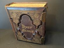 ANTIQUE Holy bible with Brass Clasps and gilt page edge, Ca 1870-1890. 13 1/4 x 10 1/2 x 4 1/4