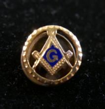 14K GOLD FREEMASON MASONIC LAPEL PIN