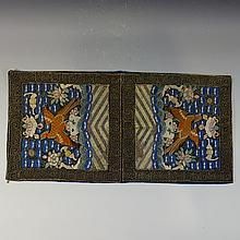 PAIR ANTIQUE CHINESE SILK RANK BADGE - QING DYNASTY