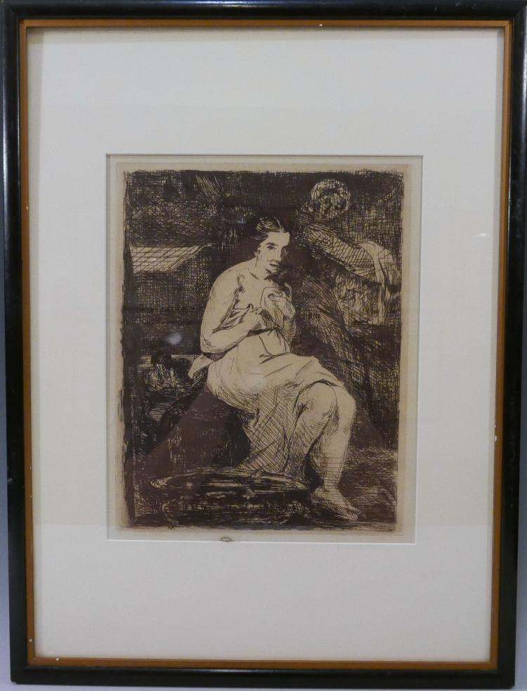 manet edouard la toilette 1862 original etching. Black Bedroom Furniture Sets. Home Design Ideas