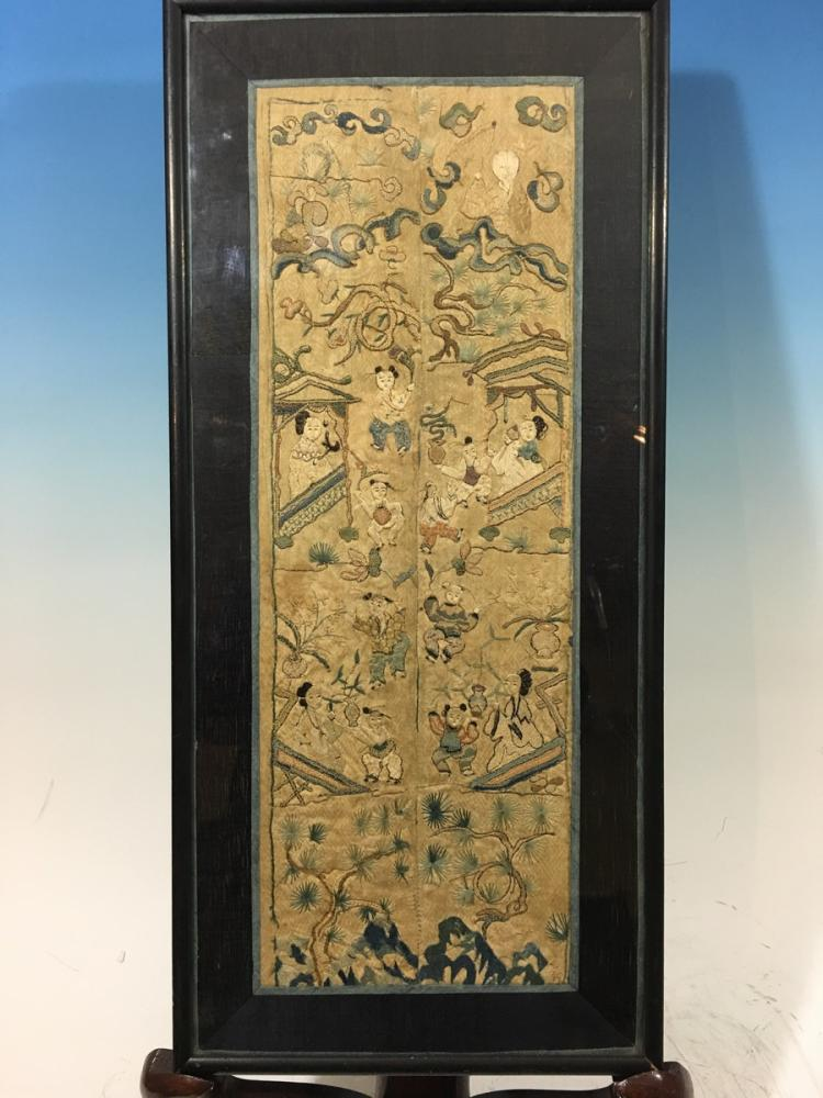Antique chinese embroidery panel in frame late 19th century for Asian antiques uk