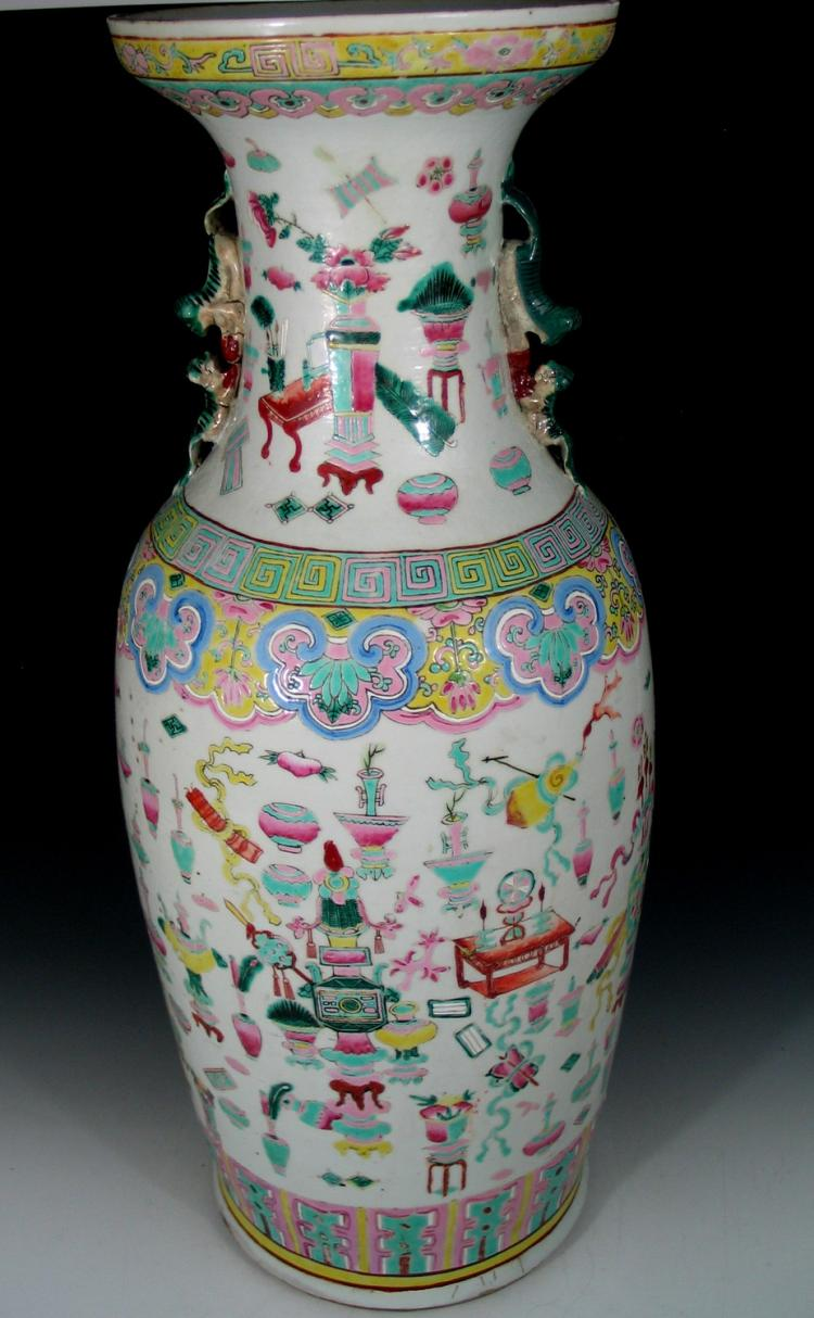 Big chinese famille rose porcelain vase with antique for Asian antiques uk