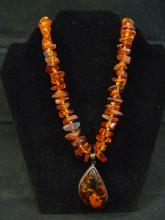 VERY LARGE ANTIQUE CHINESE NATURAL AMBER SILVER NECKLACE
