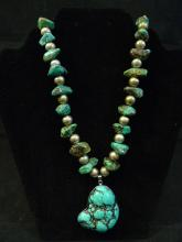 VERY LARGE ANTIQUE CHINESE NATURAL TURQUOISE SILVER NECKLACE
