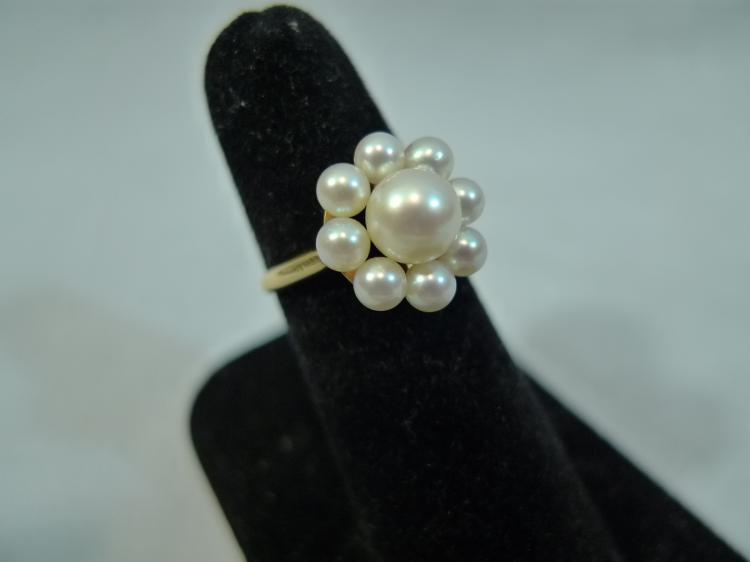 14K GOLD PEARL RING SIZE 5.25 3.5 GRAMS
