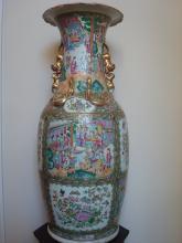 ANTIQUE Chinese Rose Medallion Huge Vase 36