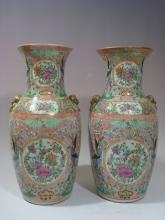 ANTIQUE Pair Chinese Famille Rose Medallioin Vases, 18