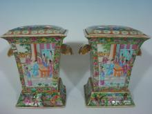 ANTIQUE Chinese Rose Medallion Bough pots, early 19th C