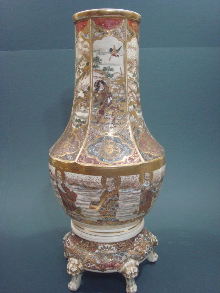 Antique japanese satsuma vase meiji period 18 high for Asian antiques uk